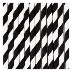 10 cannucce di carta a righe nero/bianco