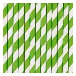 25 cannucce di carta a righeverde/bianco