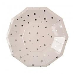 8 piattini stelle argento, 18 cm