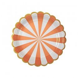 8 piattini a righe arancio e bianco, decoro oro