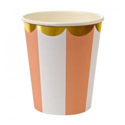 8 bicchieri a righe arancio e bianco, decoro oro