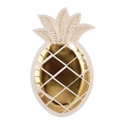 8 piatti ananas oro