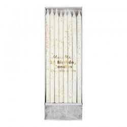 24 candele bianco/rosa glitter 15 cm