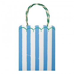 8 party bags blue stripes 'Toot sweet'