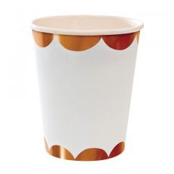 8 bicchieri bianchi, decoro rosegold