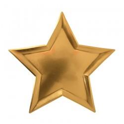 8 piatti stella oro, 25 cm