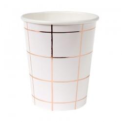 8 bicchieri a quadri bianchi e rosegold