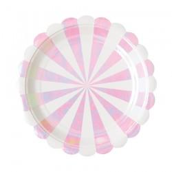 8 piattini righe bianche e iridescenti