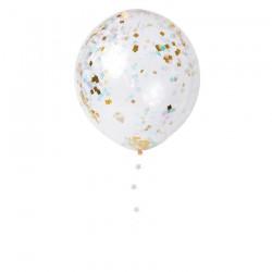 kit 8 palloncini 45 cm trasparenti con coriandoli quadrati