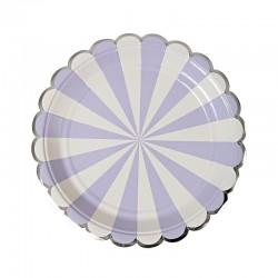 8 piattini a righe lilla e bianche, decoro argento