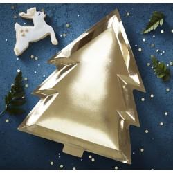 6 Piatti Albero di Natale Oro